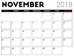 Weekly Calendar Free Print Free Printable November 2018 Calendar Pdf Template