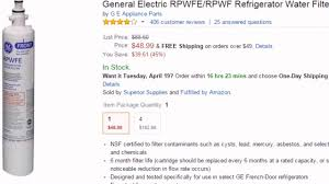 Ge Refrigerator Filter Replacement Cartridge General Electric Rpwfe Rpwf Refrigerator Water Filter Youtube