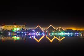 the moody gardens pyramids during festival of lights holidays galveston