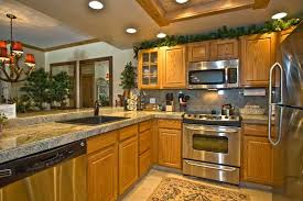image of kitchen color ideas with honey oak cabinets