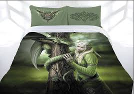 anne stokes kindred spirits doona cover bed set double queen king green dragon elf fairy princess lee s dragon dreams