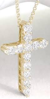 1 carat diamond cross pendant in 14k