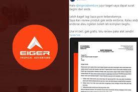 Surat keberatan viral, eiger minta maaf: Bak Perang Brand Eiger Layangkan Surat Keberatan Brand Arei Buat Surat Keringanan Pikiran Rakyat Cirebon