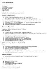 Resume For Factory Job Alternative Besides Sample Worker Firefighter