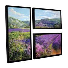 brushstone lavender fields in old provence 3 pc flag floater framed canvas wall art on lavender fields wall art with brushstone lavender fields in old provence 3 pc flag floater framed