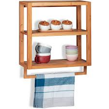 relaxdays bamboo wall shelf 3 tiers