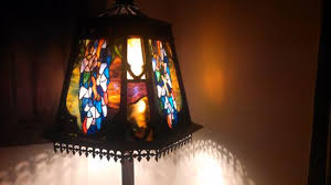 the blue rose inn antique stained glass lamp shade
