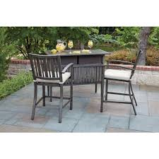 home patio bar. Woodard Lancaster 3-Piece Aluminum Wood Look Patio Bar Set With Beige Cushions Home