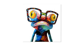 >modern abstract huge wall art oil painting on canvas glasses frog