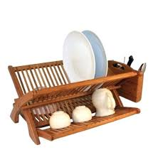 bamboo dish rack in racks wooden drainer kitchen drying towel