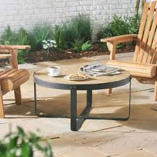 outdoor round coffee table mgo top weather resistant garden patio furniture