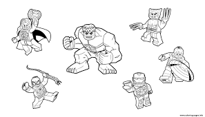 Lego hulk coloring page from lego super heroes category. Team Lego Marvel Hulk Ironman Spiderman Thor America Wolverine Coloring Pages Printable