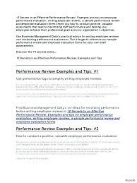 Sample Performance Review Forms J Dornan Us