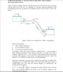 Gravity Pipe Flow Chart Solved Assignment Question 7 Gravity Driven Pipe Flow Wi