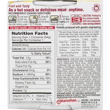 en ramen noodles nutrition label
