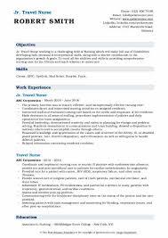 travel nurse resume sles qwikresume