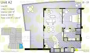 floors 18 19 interior 1067 ft2 99 m2 exterior 288 ft2 27 m2 total 1355 ft2 126 m2