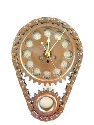 wall clock steampunk copper burnt