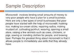 descriptive writing sample description microcredit