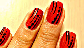 Easy Nail Art Designs - Red and Black - YouTube