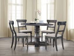 acme 74640 42 5 pc leventis weathered gray finish wood 47 round dining table set