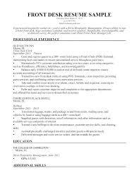 Hotel Front Desk Receptionist Sample Resume Podarki Co