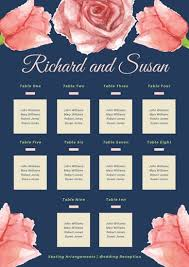 Blue And Pink Watercolor Flowers Wedding Seating Chart