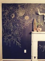 Wallpaper And Paint Living Room Faux Wallpaper Gold Paint Marker Mural Navy Accent Walls