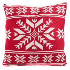 details about 16 inch red white snowflake pillow by k k interiors inc 51630a