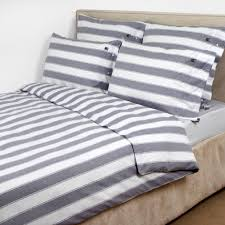 lexington pinpoint oxford block stripe white blue duvet cover