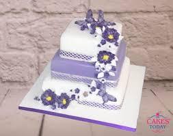 3 Tier Stacked White Purple Wedding Cake Flowers Butterflies C537