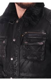 pearly king explore leather jacket with fur collar black