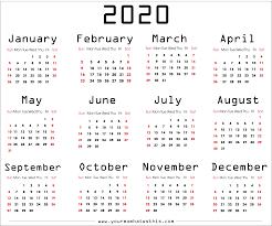 12 Months 2020 Calendar All Month 2020 Calendar Transparent Png Png Play
