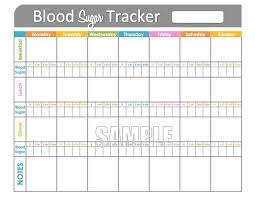 Blood Sugar Tracker Printable For Health Medical Fitness