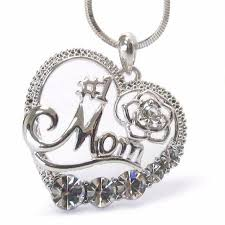 details about mother necklace crystal 1 mom heart pendant number one mom white gold plating