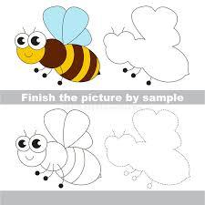 The Honeybee. Drawing Worksheet. Stock Vector - Illustration of ...