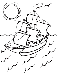 Kids Free Thanksgiving Coloring Pages Mayflower Holidays