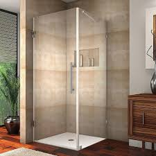 frameless square shower enclosure in chrome with