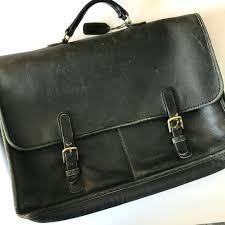distressed leather briefcase coach vintage black