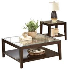 2 piece valencia cocktail table 1 end table with glass insert espresso transitional coffee table sets by amoc