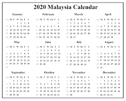 Free Year Calendar 2020 Printable Free Download Malaysia Calendar 2020 Pdf Excel
