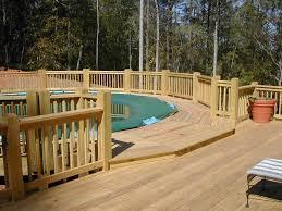 wood patio with pool. Above Ground Pool Decks Pictures Ideas With Decks For Above Ground Pools  And Brown Wooden Railing Wood Patio Pool