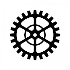 歯車ギアのシルエット 無料のaipng白黒シルエットイラスト