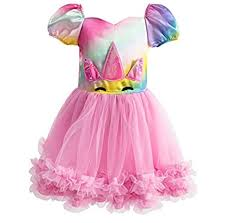 Unicorn Dress Girls Rainbow Costume Toddler Kids Deluxe Skirt ...