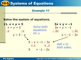 example 11 solve the system of equations 11 x y 5 3x