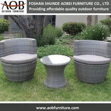 3pcs home garden furniture set rattan stacking chair round table furniture set