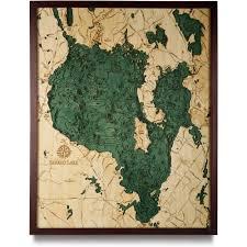 sebago lake wood map  d nautical topographic chart  framed art