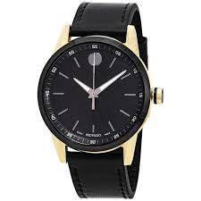 movado 0607223 men s museum sport calfskin leather black dial
