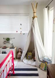 Interior design ideas kids room tent pink bed strips carpet