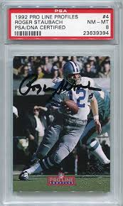 Store Collectibles Autograph Profiles Roger Psa Staubach Amazon's Sports At autographed Pro - Football 1992 dna Line Authentic Dallas Cowboys Cards Certified
